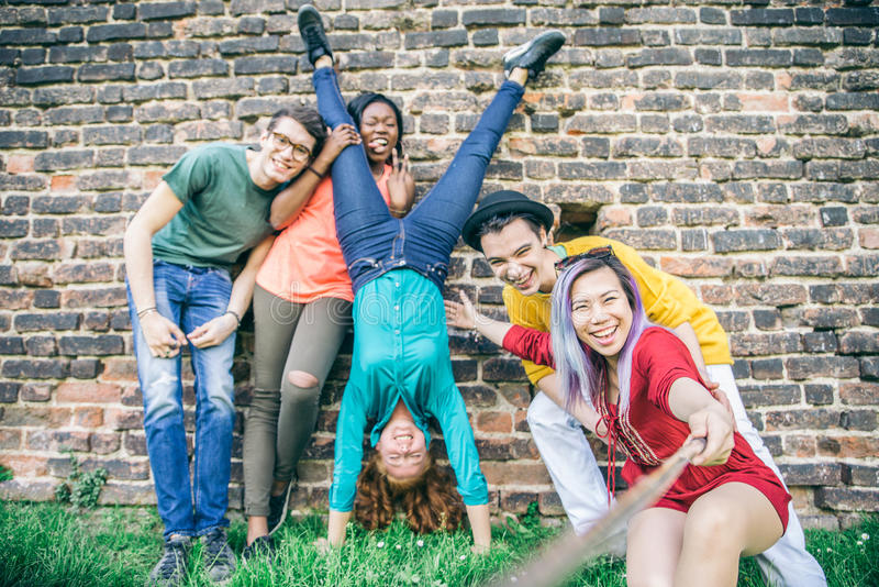 Teenagers taking selfie royalty free stock photo