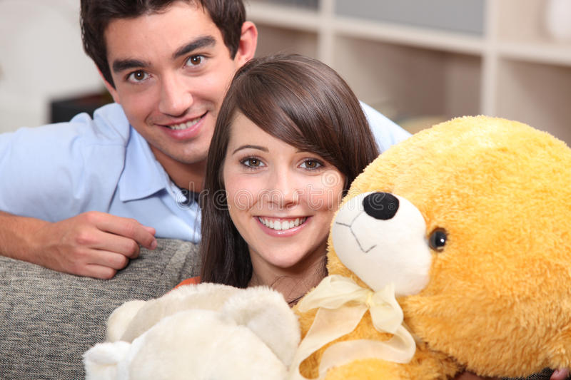 Download Teenagers With A Teddy Bear Royalty Free Stock Images - Image: 28296169
