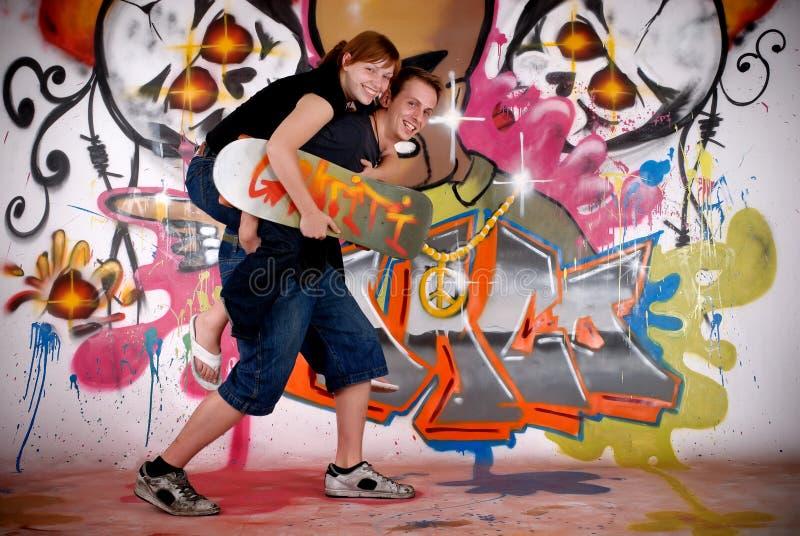 Teenagers urban graffiti stock photo