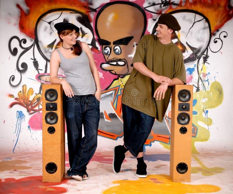 Teenagers urban graffiti stock image