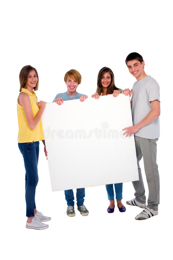 Teenagers with white panel stock images