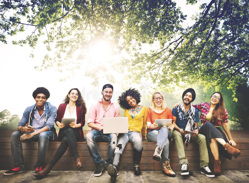 Teenagers Young Team Together Cheerful Concept stock images