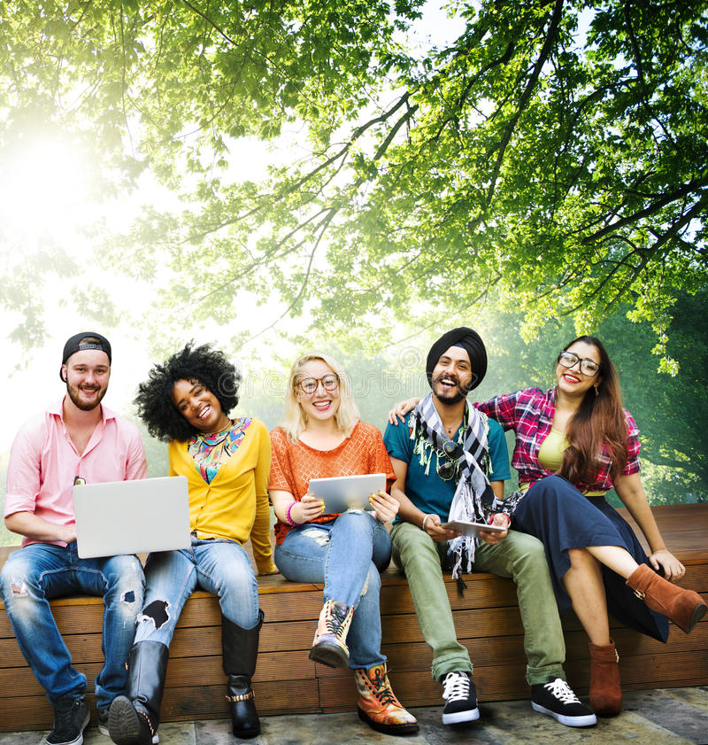 Teenagers Young Team Together Cheerful Concept royalty free stock image
