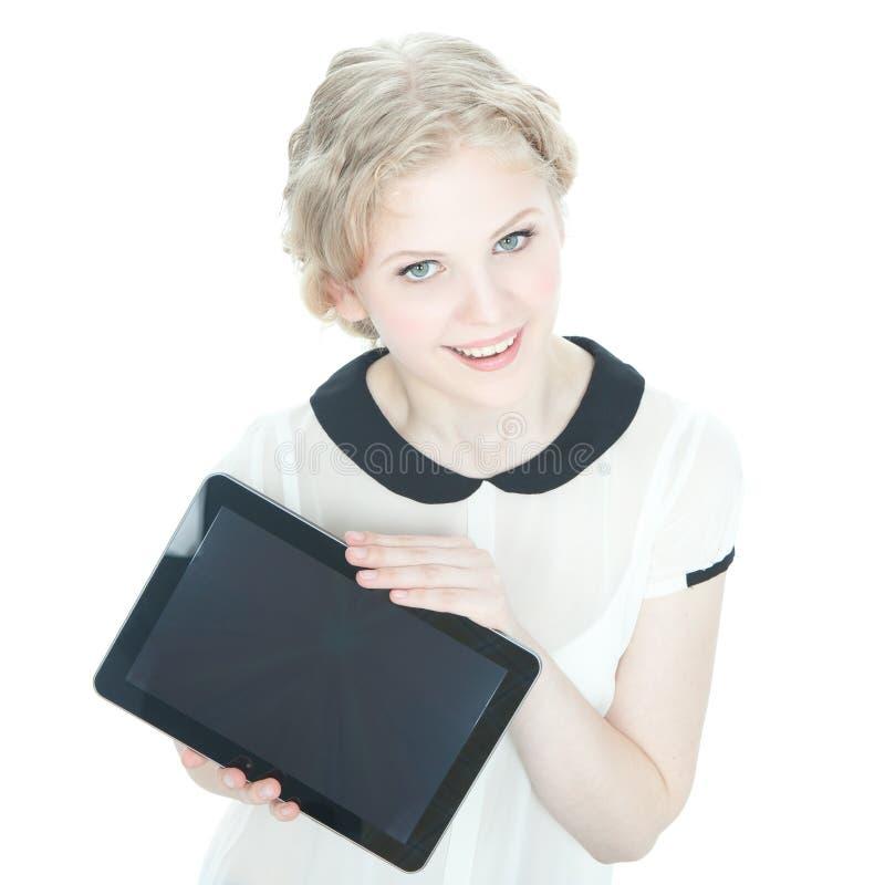 teenege för tablet för PC för datorflicka lycklig royaltyfria bilder