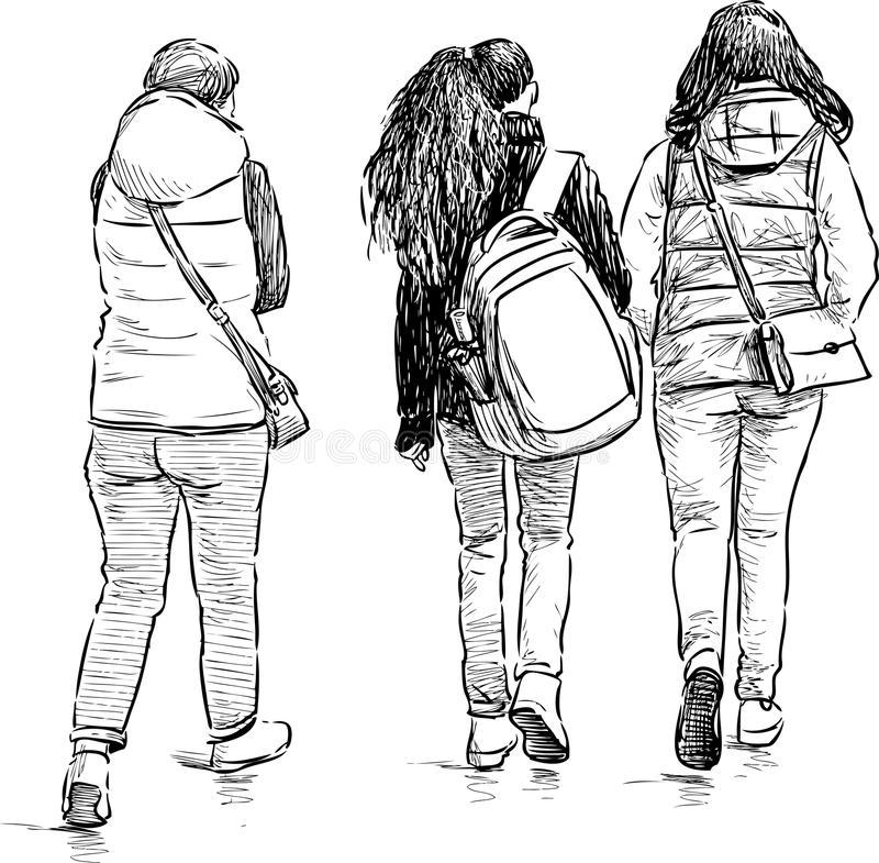 Teens σε έναν περίπατο ελεύθερη απεικόνιση δικαιώματος
