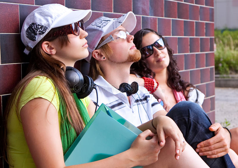 Download Teens 12 stock image. Image of thinking, sitting, friendship - 10702485