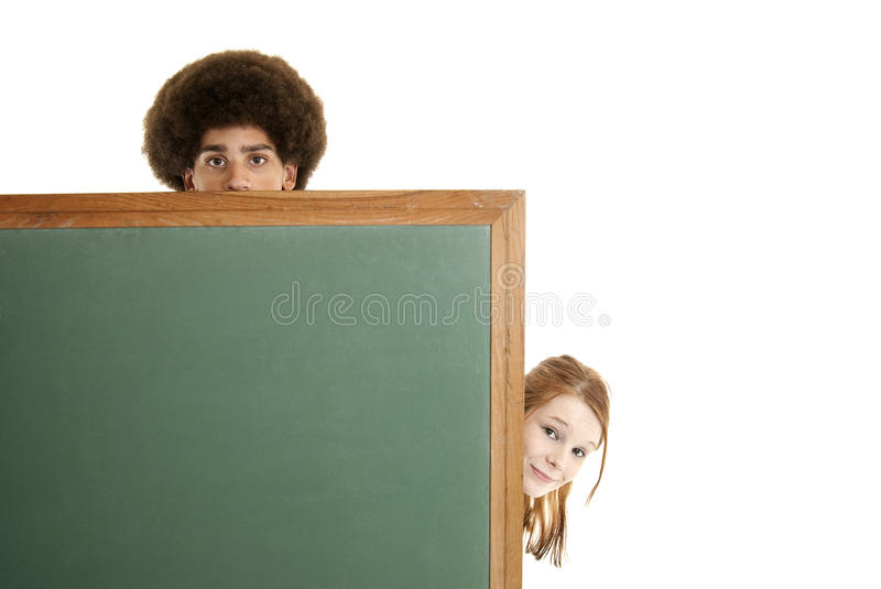 Teens With Blank Chalkboard Stock Photos