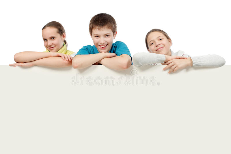 Teens with a board stock images