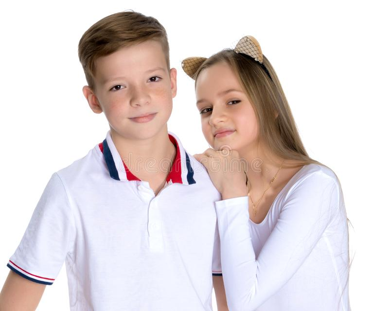 Teens brother and sister. stock photo