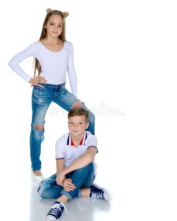 Teens brother and sister. royalty free stock image