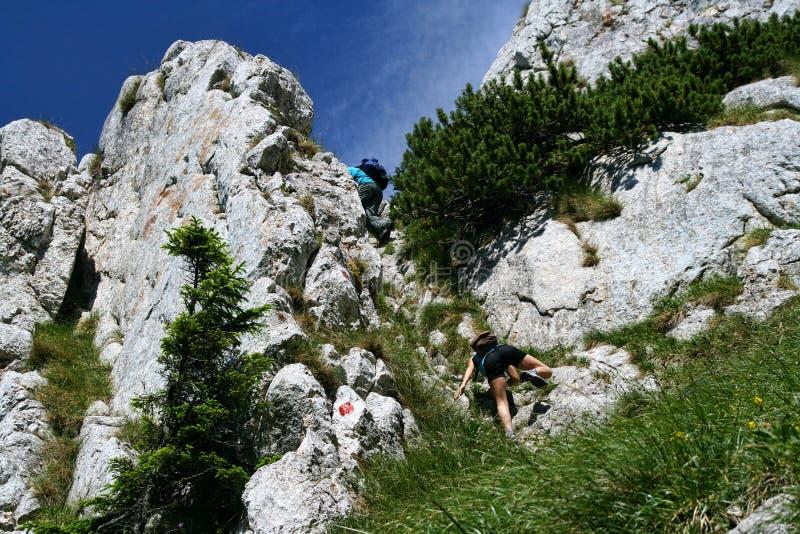 Teens climbing in Carpathians stock photo