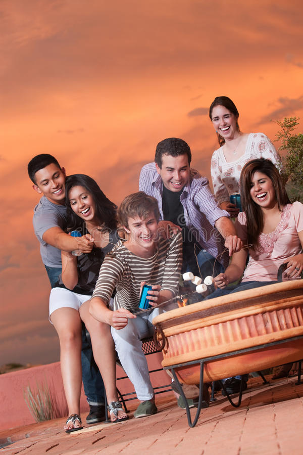 Teens Cook Marshmallows royalty free stock images