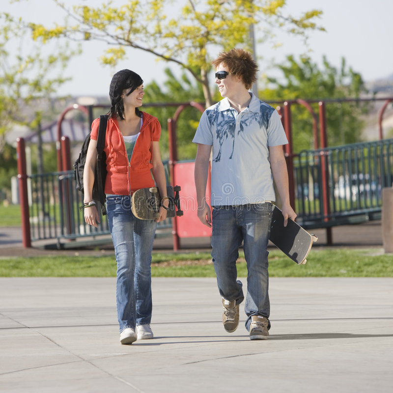 Download Teens Couple Walks Together Stock Photo - Image: 5039160