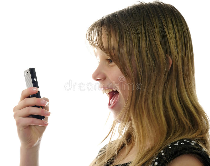 Download Teens emotions with mobile stock photo. Image of people - 17782532