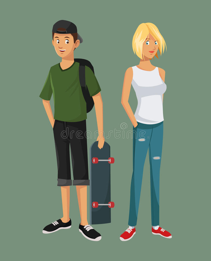 Free Teens Girl Blonde Boy Casual Outfits With Skate Bag Cap Stock Images - 84384974