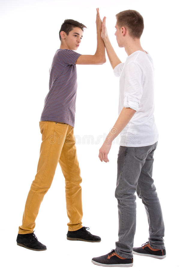 Download Teens giving high five stock photo. Image of friendly - 28260398
