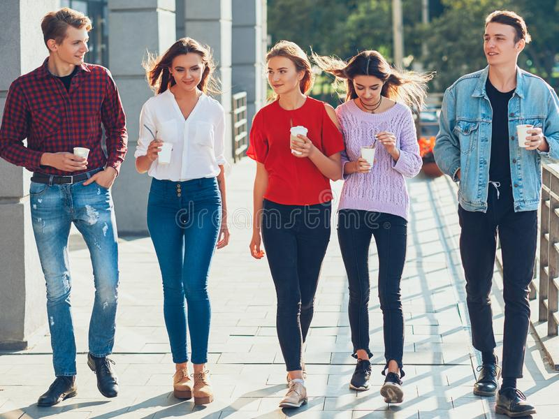 Teens leisure group male female friends walking royalty free stock photo