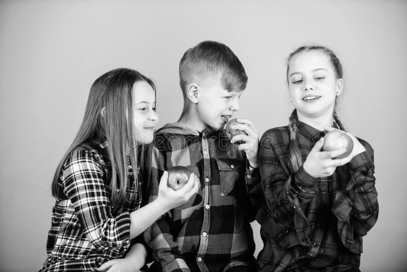 Teens met gezonde snack Gezonde eetgewoonten en vitaminestroom Eet fruit en wees gezond Snellertijd school heeft stock afbeeldingen