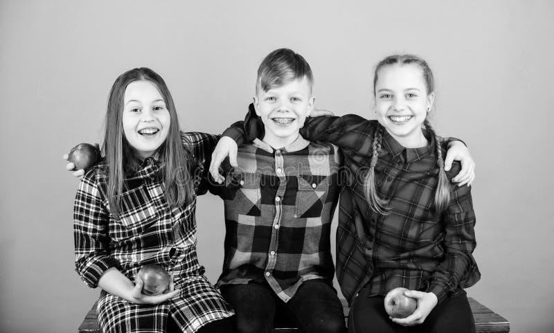 Teens met gezonde snack Gezonde eetgewoonten en vitaminestroom Eet fruit en wees gezond Vrienden kinderen knuffelen elkaar stock afbeeldingen