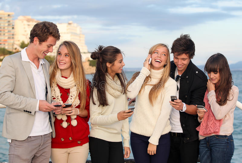 Download Teens With Mobile Or Cell Phones Stock Image - Image of network,  communication: