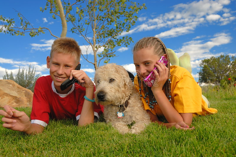Teens with phones and dog. Faithful dog lying down between two teenagers talking on their cellular phones. Sky and meadow background stock photo