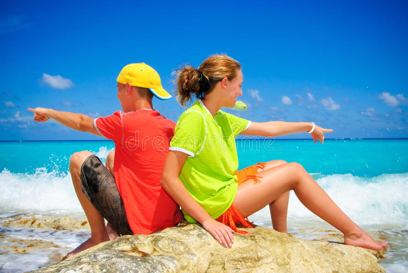 Download Teens on rock stock photo. Image of vacation, cancun - 11071682