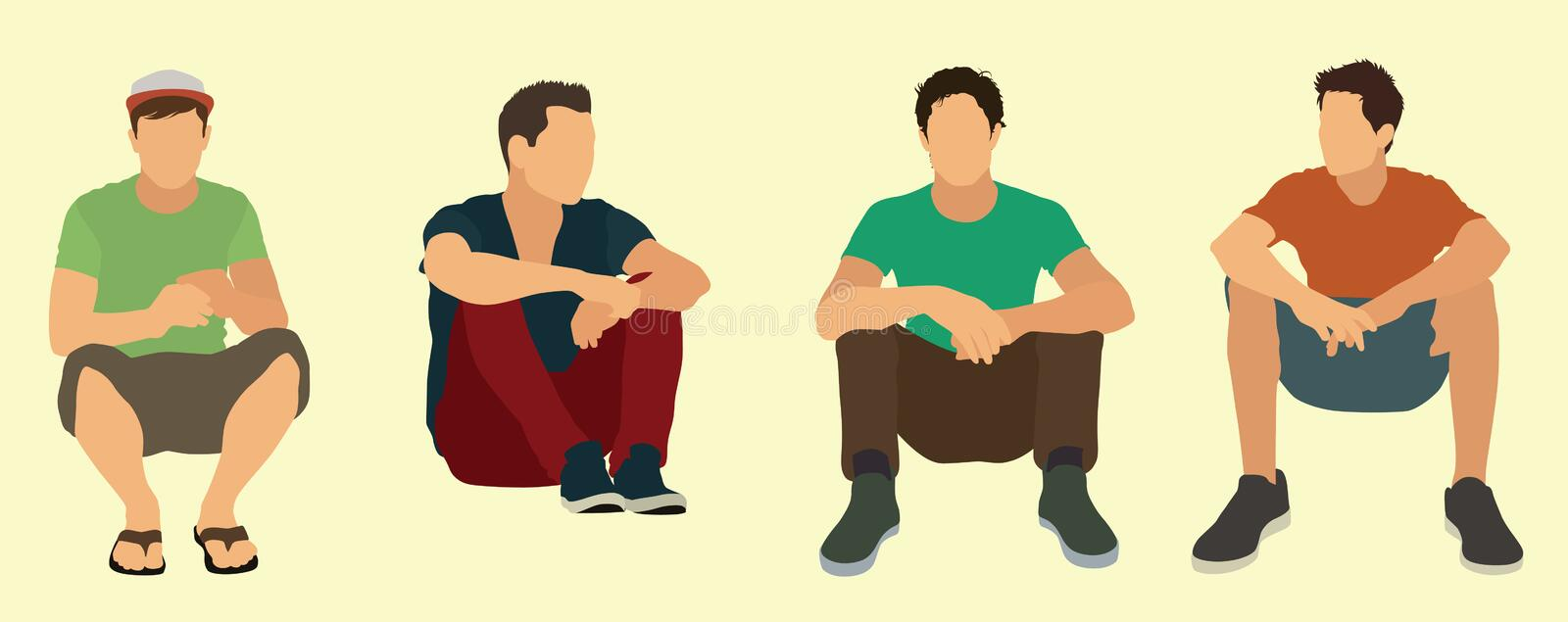 Teens Sitting Down on the Ground stock illustration