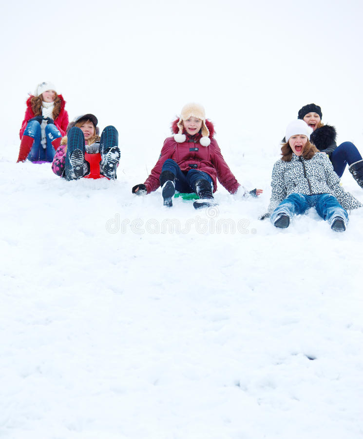 Teens Sleighing Royalty Free Stock Photography