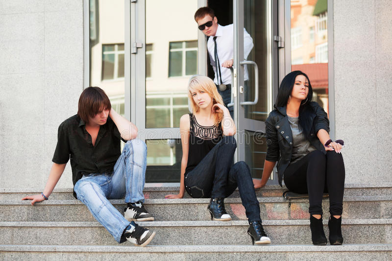 Teens on the steps. royalty free stock photos