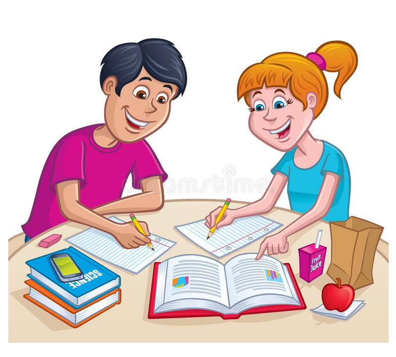 Teens working On Homework At Lunchtime royalty free illustration