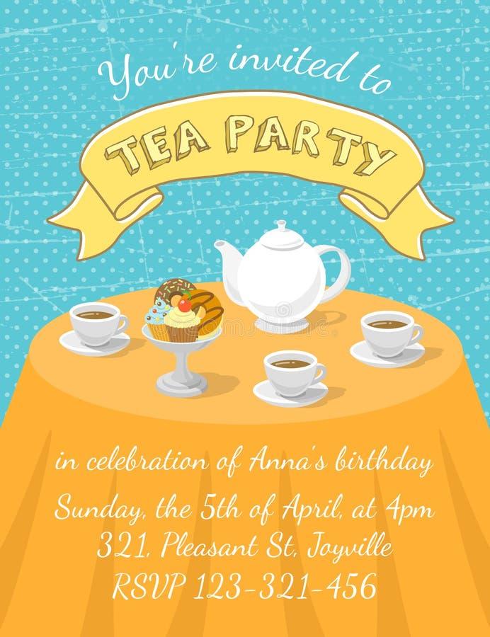 Teeparty-Einladungs-Schablone Vektor Abbildung - Illustration von ...