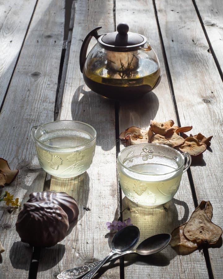 Teeparty mit Schokoladeneibisch- und -fruchtchips lizenzfreie stockbilder