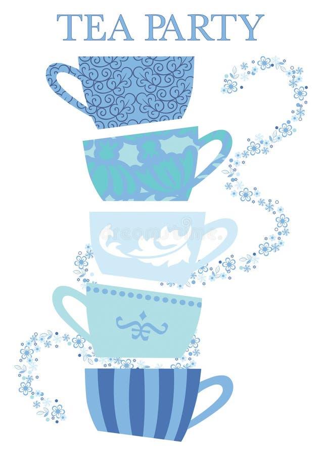 Teeparty-Schalen stock abbildung