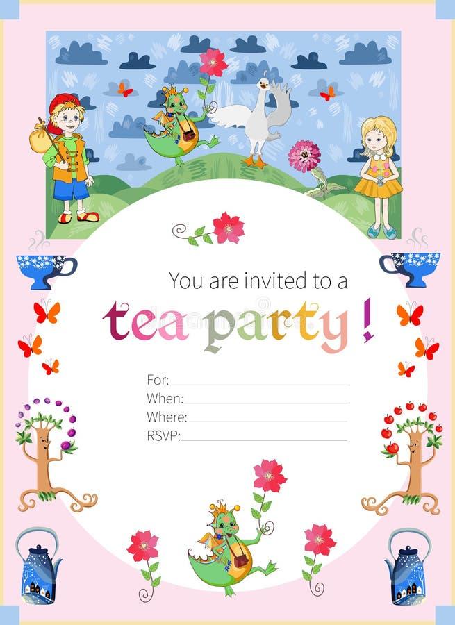 Teepartyeinladung für Kinder Nette Illustration des feenhaften Landes stock abbildung