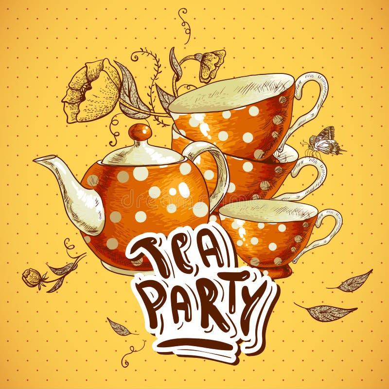 Teepartyeinladungskarte mit Schalen und einem Topf vektor abbildung