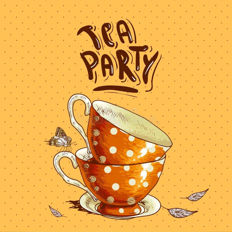 Teepartyeinladungskarte mit Schalen und einem Topf lizenzfreie abbildung