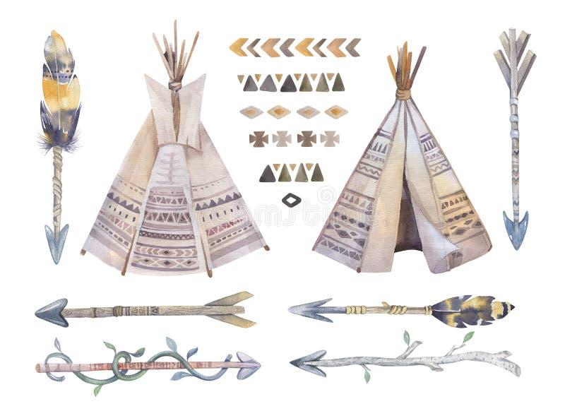 Teepee, стрелки, fearhers и томагавк акварели Boho Америка бесплатная иллюстрация