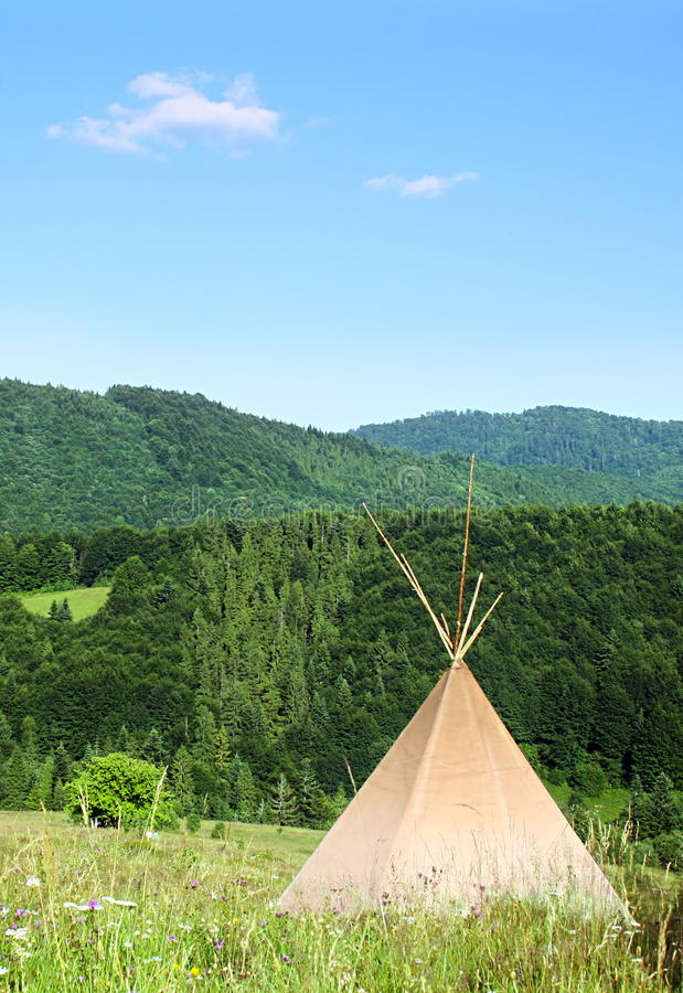 Teepee. In the Carpathian Mountains stock photos