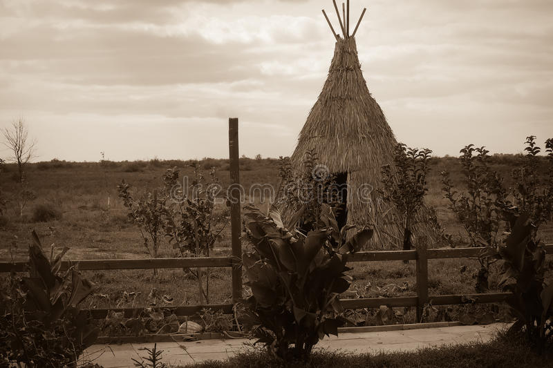 Teepee aka wigwam in the field with young trees. Vintage sepia toned image.  royalty free stock images