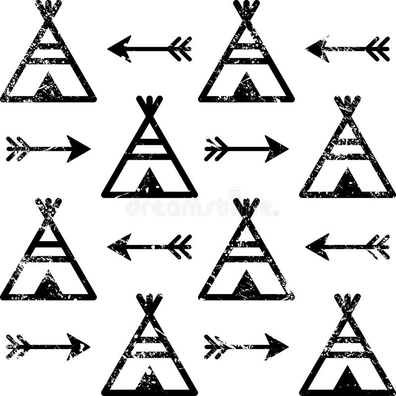 Teepee And Arrows Seamless Pattern Aztec Style Indian Repetitive