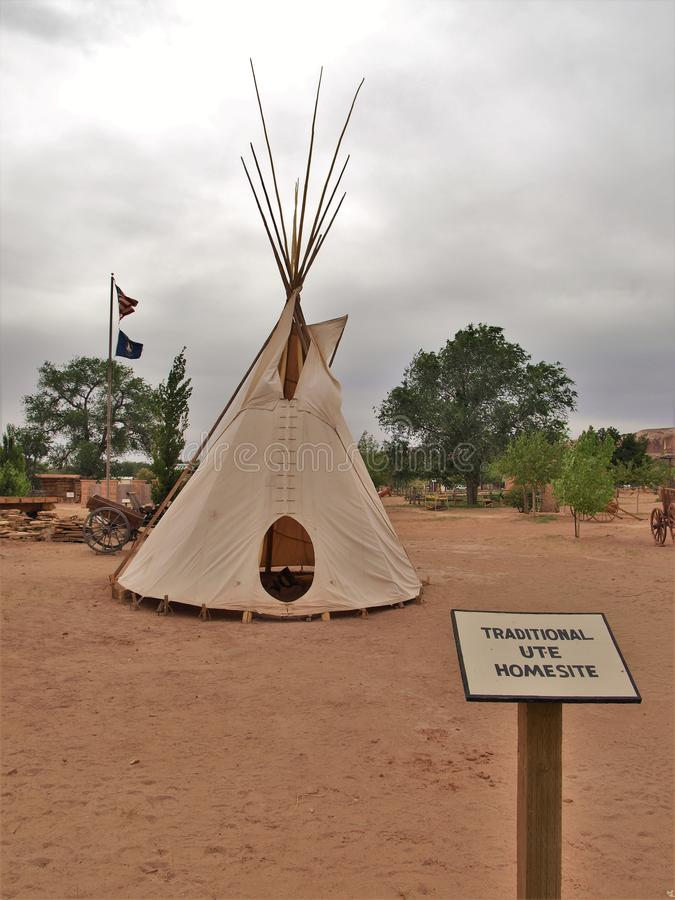 Teepee at Bluff Fort Historic Site in Bluff, Utah royalty free stock photos