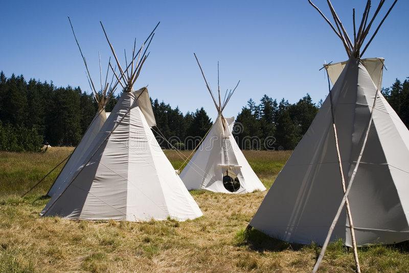 Teepee Camp In Meadow royalty free stock images