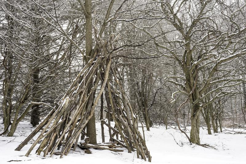 Teepee contructed out of logs and branches in a winter landscape. Covered with snow stock photography