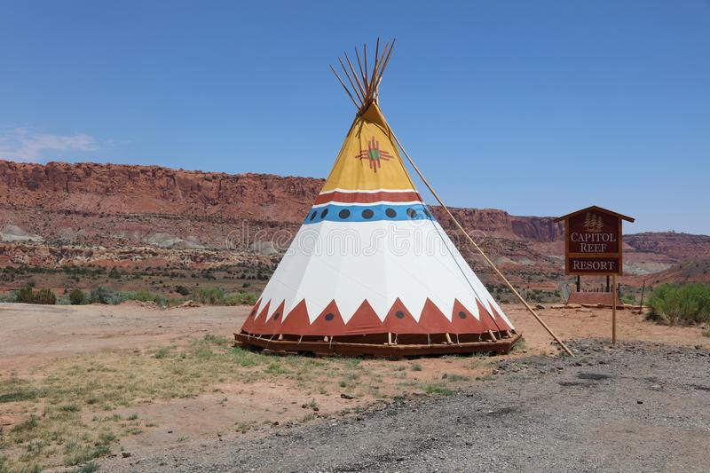 Teepee in front of the Capitol Reef Resort. Utah stock photography