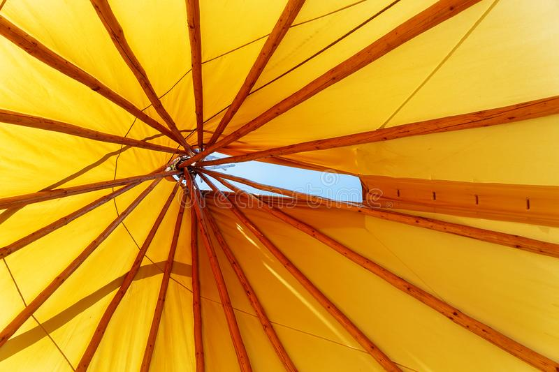 Teepee indian tent. Detail from the inside. stock images