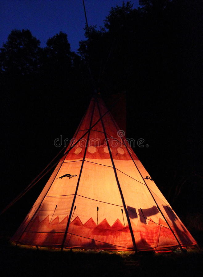 Teepee. A teepee in the night stock photo