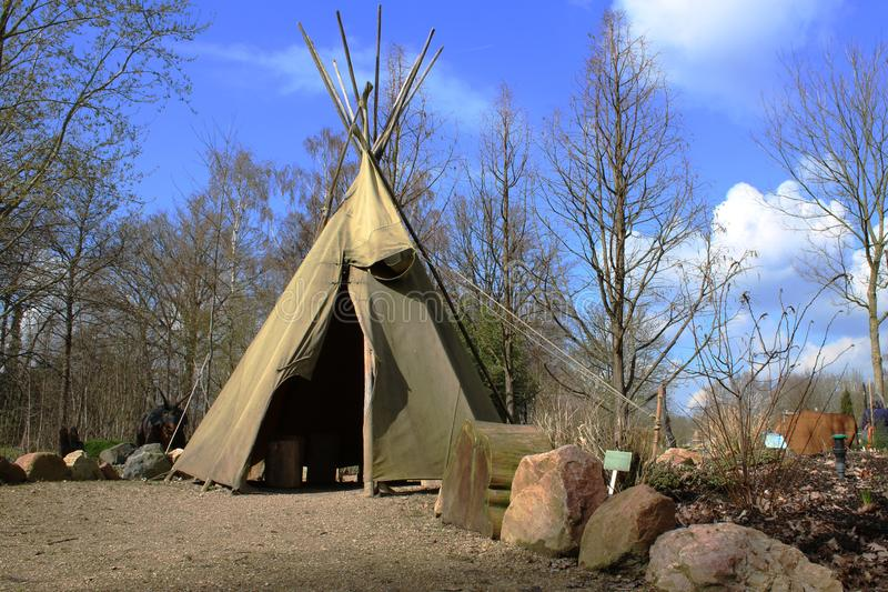 A teepee used by idians in the old times royalty free stock photos