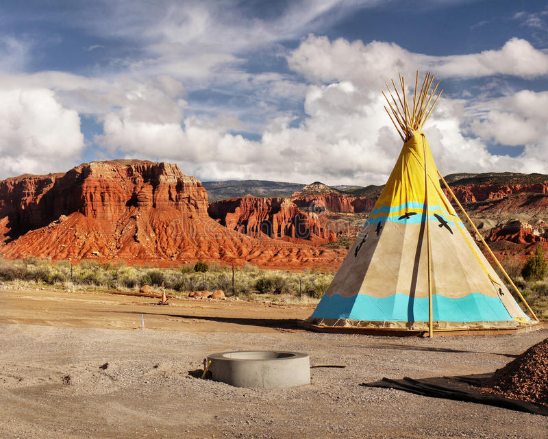Teepee, Wigwam, Indian Tents. An iconic indian tents, Teepee - Wigwam in desert landscape stock photos