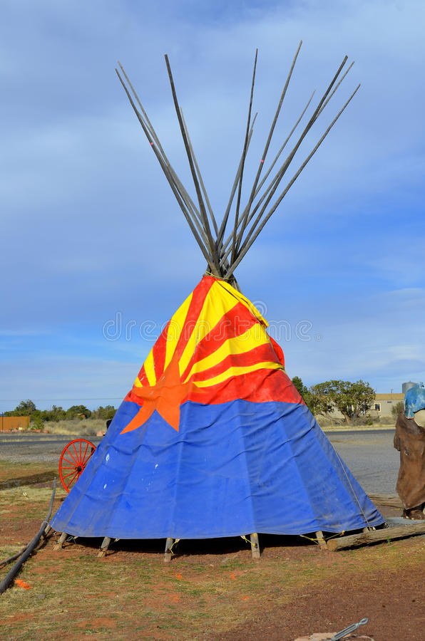 Teepee. WILLIAMS ARIZONA APRIL 15: Teepee with designs in the fields on april 15 2014 in Williams Arizona.A tipi also tepee and teepee is a conical tent royalty free stock images