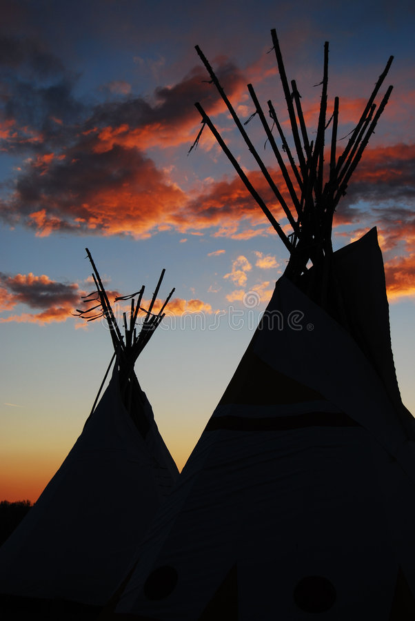 Teepees At Sunset stock images